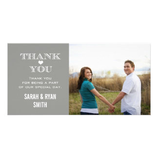 Grey Heart Wedding Photo Thank You Cards Custom Photo Card