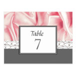 Grey Hearts and Pink Table Number Card