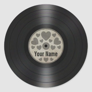 Grey Hearts Personalized Vinyl Record Album Classic Round Sticker
