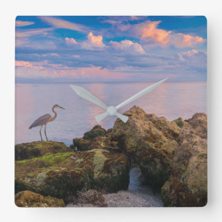 Grey Heron at Dusk Wallclocks