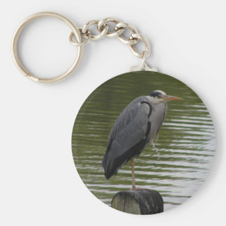 Grey Heron Key Ring Basic Round Button Key Ring