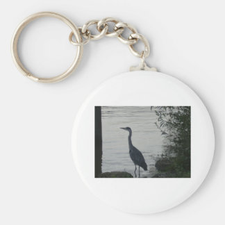 Grey Heron on Thames Basic Round Button Key Ring