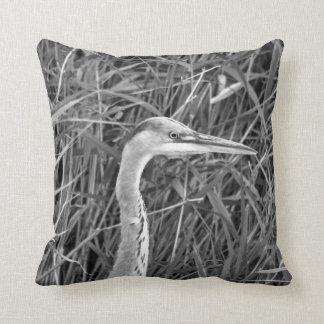 Grey heron throw cushion
