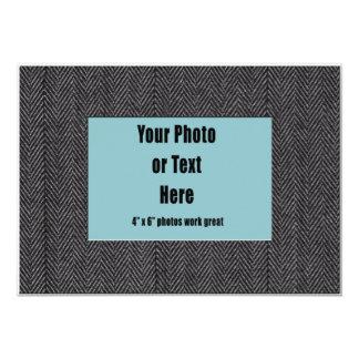 Grey Herringbone Tweed Fabric Frame 13 Cm X 18 Cm Invitation Card