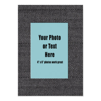 Grey Herringbone Tweed Fabric Frame Card