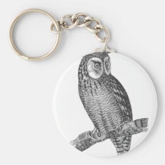 Grey Horned Owl Illustration Basic Round Button Key Ring