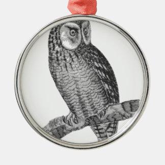 Grey Horned Owl Illustration Christmas Ornament