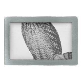 Grey Horned Owl Illustration Rectangular Belt Buckles
