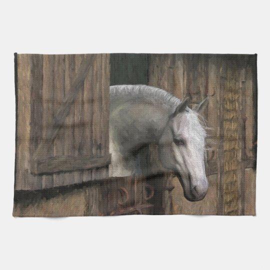 Grey Horse at the Stable Door Tea Towel
