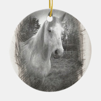 Grey Horse picture Christmas Ornament