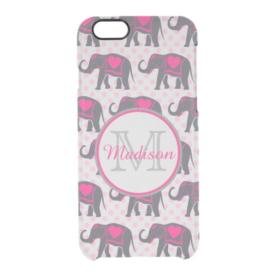 Grey Hot Pink Elephants on pink polka dots,