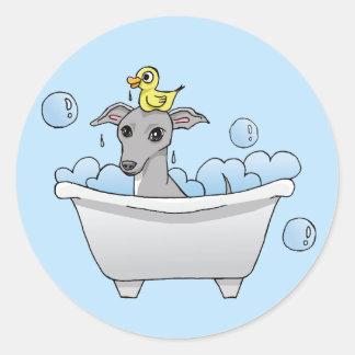 Grey Hound Dog Bath Time Round Sticker