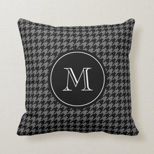 Grey houndstooth pattern monogram throw pillow