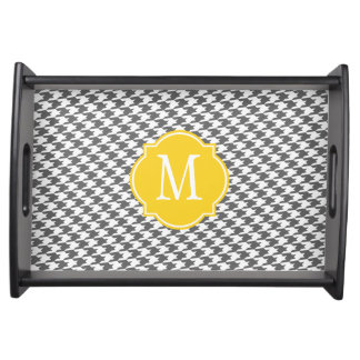 Grey Houndstooth Pattern Serving Tray