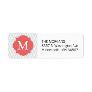 Grey & Indian Red 2 Modern Chevron Custom Monogram Return Address Label