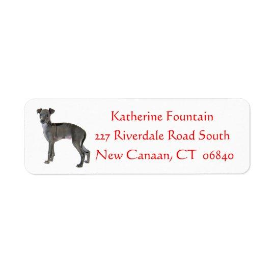 Grey Italian Greyhound Puppy Dog Red Return Address Label
