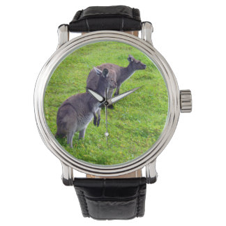 Grey Kangaroos On Green Grass, Mens Leather Watch. Watch