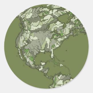 grey khaki continents round sticker