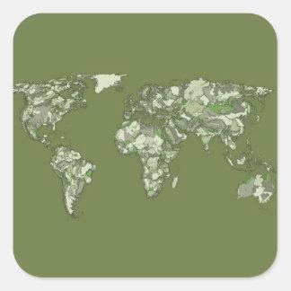 grey khaki continents square sticker