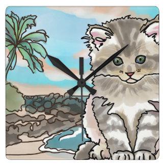 Grey Kitten at a Hawaii Beach Square Wall Clock