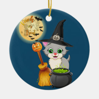 Grey Kitten Halloween Cartoon Christmas Ornament