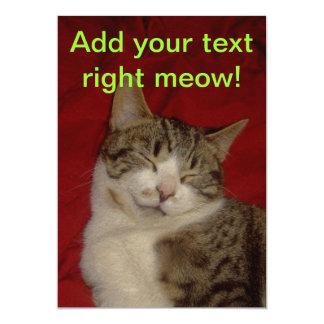 Grey Kitten on Red 13 Cm X 18 Cm Invitation Card