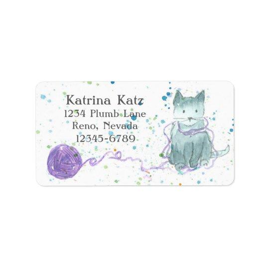 Grey Kitten Purple Yarn Address Label