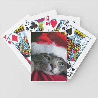 Grey Kitten Santa Hat Cat Playing Cards