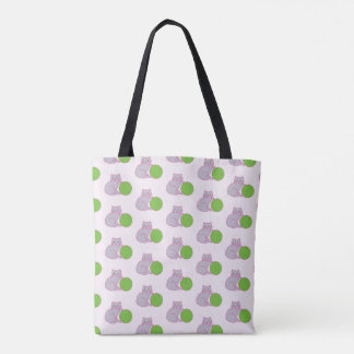 Grey kitten with green ball tote bag.