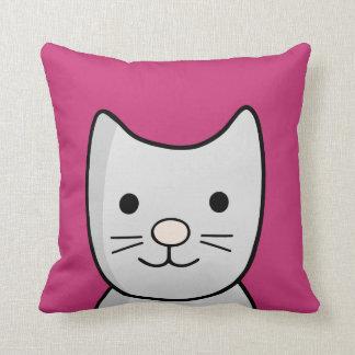 Grey Kitty Cat Closeup Throw Pillow