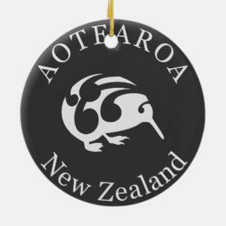Grey Kiwi with Koru, Aotearoa, New Zealand Christmas Ornament