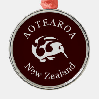 Grey Kiwi with Koru, Aotearoa, New Zealand Silver-Colored Round Decoration
