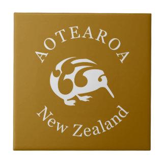 Grey Kiwi with Koru, Aotearoa, New Zealand Small Square Tile