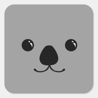 Grey Koala Cute Animal Face Design Square Sticker