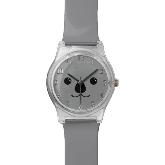 Grey Koala Cute Animal Face Design Watch