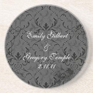 Grey Lace Wedding Favor Coasters