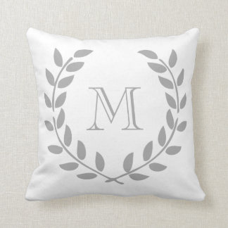 Grey Laurel Wreath Monogram Throw Pillow