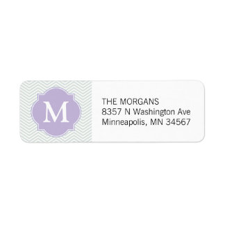 Grey & Lavender Modern Chevron Custom Monogram
