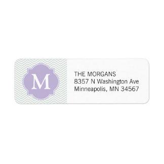 Grey & Lavender Modern Chevron Custom Monogram Return Address Label