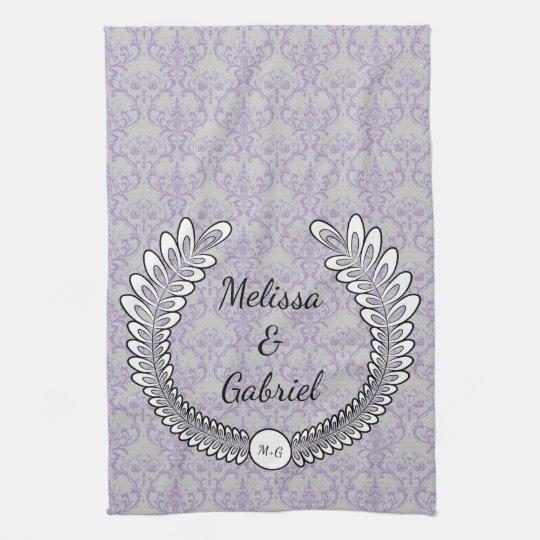 Grey & Lavender Purple Floral Wreath Pattern Tea