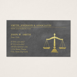 Grey Lawyer Scales of Justice Gold effect Canvas Business Card