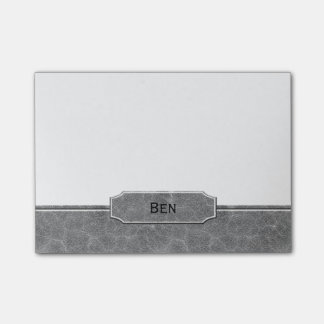 Grey Leather Look Monogram Post-it® Notes