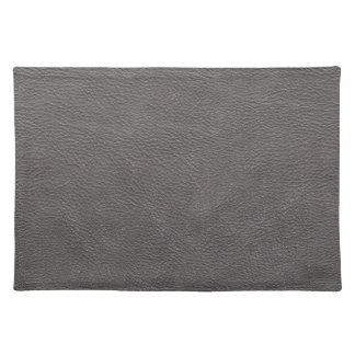 Grey Leather Print Texture Pattern Placemat