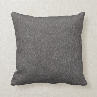Grey Leather Print Texture Pattern Throw Pillow