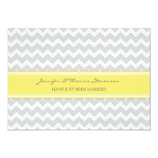 Grey Lemon Chevron Just Married Announcement Cards
