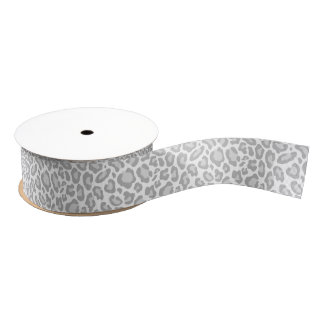 Grey Leopard Print Grosgrain Ribbon