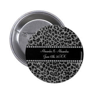 Grey leopard print wedding favors 6 cm round badge