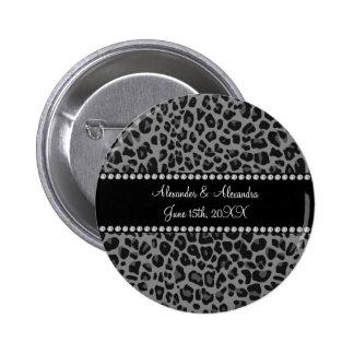 Grey leopard print wedding favors pinback buttons
