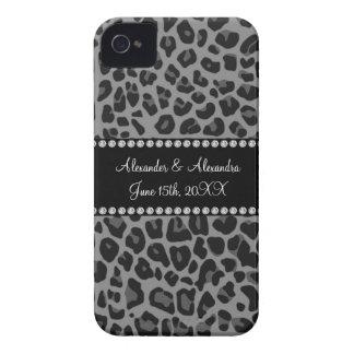 Grey leopard print wedding favors Case-Mate iPhone 4 case