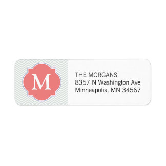 Grey & Light Coral Modern Chevron Custom Monogram